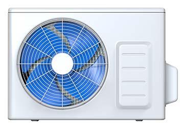 Spinning fan on outdoor heat pump unit, part of a modern HVAC system