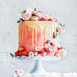 Macaron and berry wedding cake