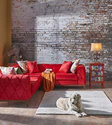 Stylish custom made velvet couch in lounge room
