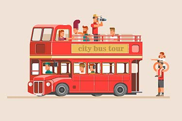 Isometric style design of city bus tour with tourist taking photos and families sight-seeing