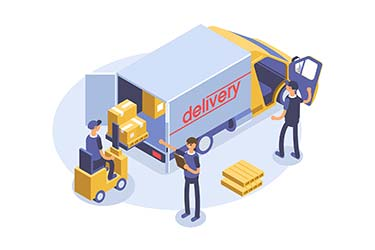 Team of warehouse workers operating delivery truck in isometric styled illustration