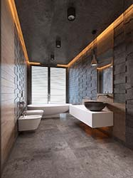 Stunning stone and wood tiling in futuristic architectural bathroom